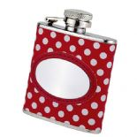 Ladies Small Red Polkadot Hip Flask PERSONALISED ref HIPR